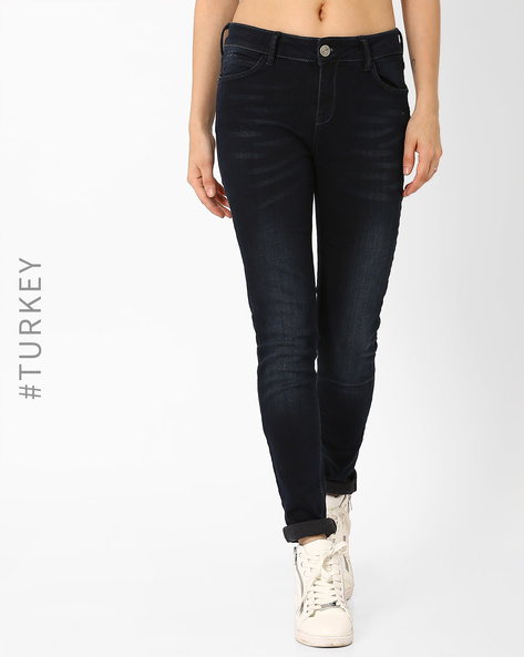Lightly Washed Slim Fit Jeans By TIFFANY & TOMATO ( Navyblue )