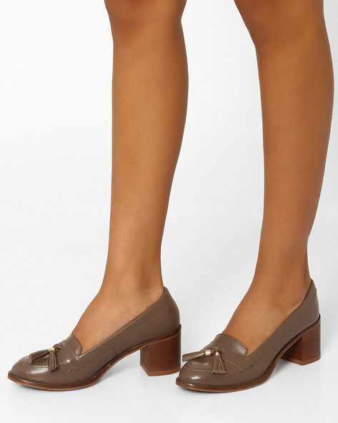 Leather Tasselled Pumps With Chunky Heels By Carlton London ( Taupe )