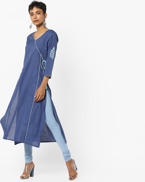 V-neck Straight Kurta With Tie-Up By AJIO ( Darkblue )