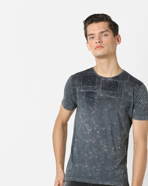 Geometric Print T-shirt With Acid Wash Effect By Killer ( Grey )