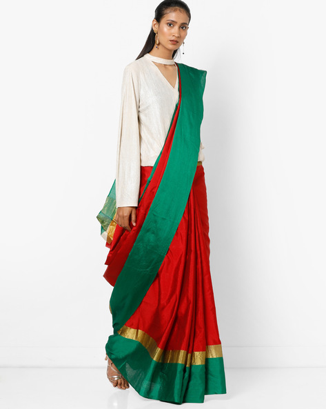 Saree With Contrast Border By Florence ( Green )