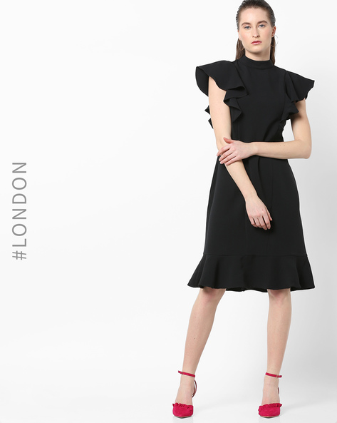 Ruffled A-line Dress With Flounce Hem By Closet London ( Black )