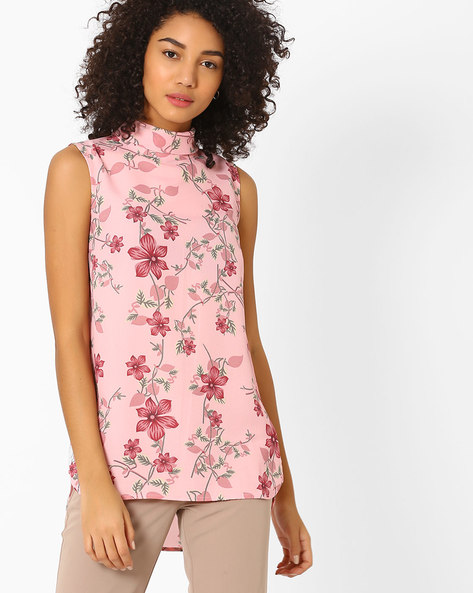 Floral Print High-Low Top By AJIO ( Pink )