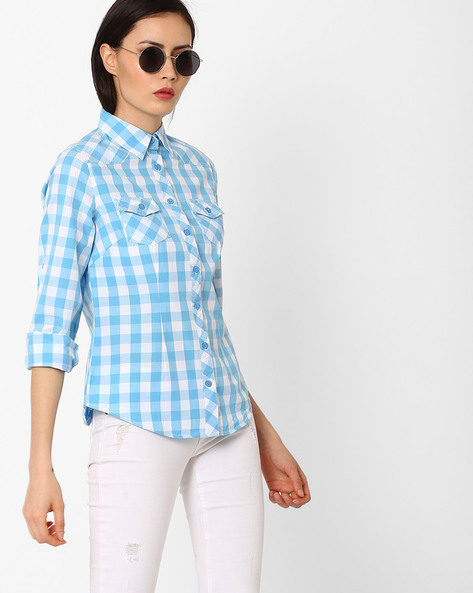 Checked Shirt With Patch Pockets By DNM X ( Blue )