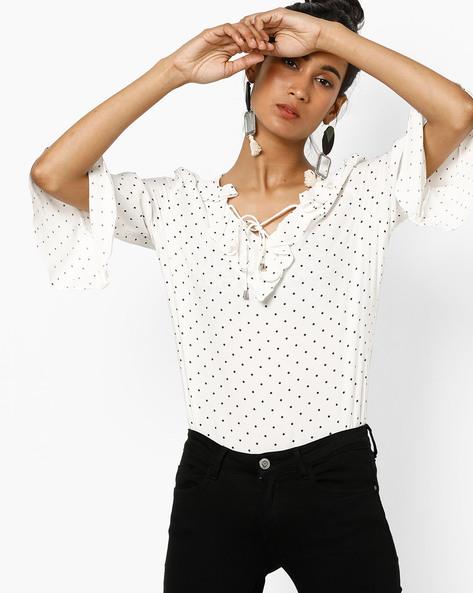 Polka-Dot Print Top With Ruffles By KRAUS ( Blackwhite )