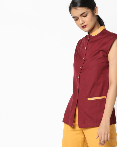 Shirt Tunic With Insert Pocket By AJIO ( Maroon )