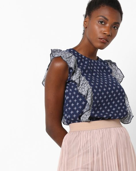 Sleeveless Printed Top With Ruffled Panels By Rena Love ( Navyblue )