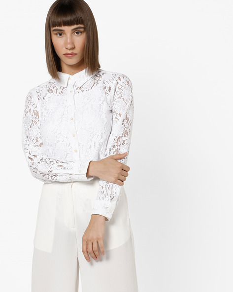 Floral Lace Shirt Top By And ( White )