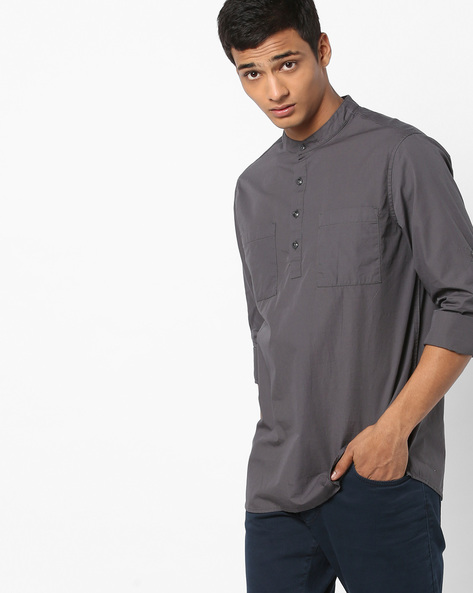 Slim Fit Cotton Shirt With Band Collar By AJIO ( Charcoal )