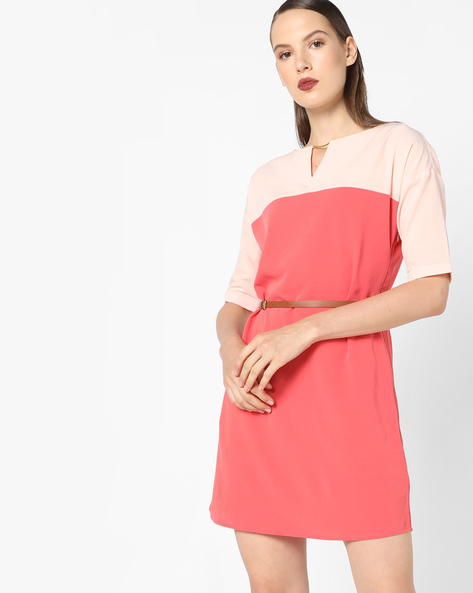 Colourblock Shift Dress With Belt By AJIO ( Coral )