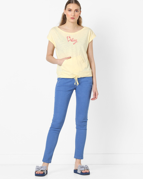 Cotton T-shirt With Kangaroo Pockets By RI-DRESS ( Yellow )