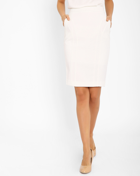 Pencil Skirt With Pockets By AJIO ( White )