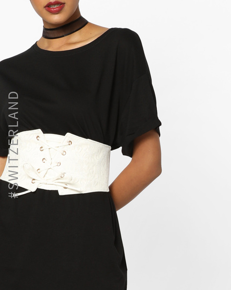 Textured Belt With Lace-Up Detail By TALLY WEiJL ( White )
