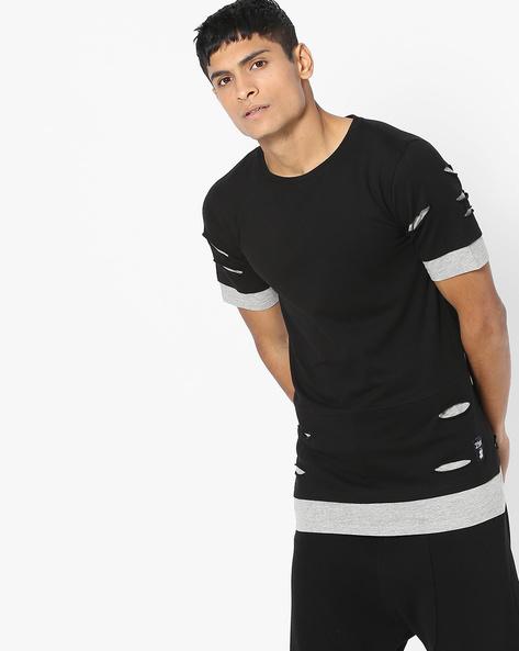Distressed Layered Crew-Neck T-shirt By KULTPRIT ( Black )
