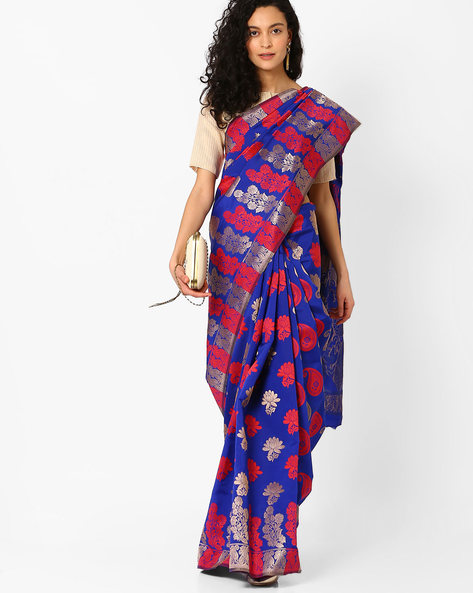 Saree With Woven Design By Hitansh ( Blue )