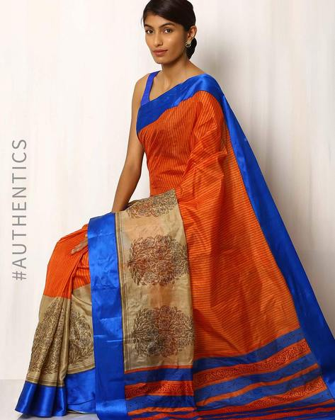 Half & Half Printed Pure Silk Saree By Rudrakaashe-MSU ( Multi )