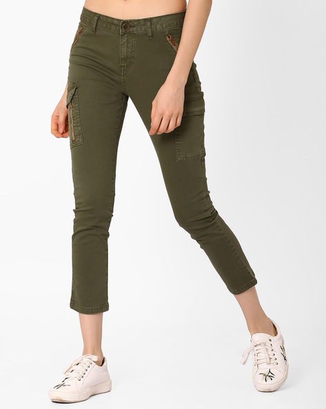 Skinny Fit Cargo Pants By AJIO ( Olive )