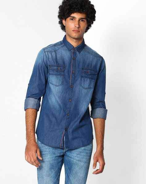 Lightly Washed Slim Fit Shirt By The Indian Garage Co ( Ice )