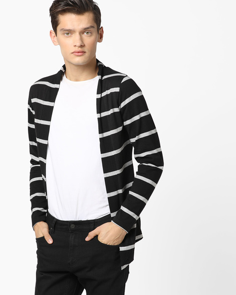 Striped Slim Fit Cardigan With Dipped Hemline By The Indian Garage Co ( Black )