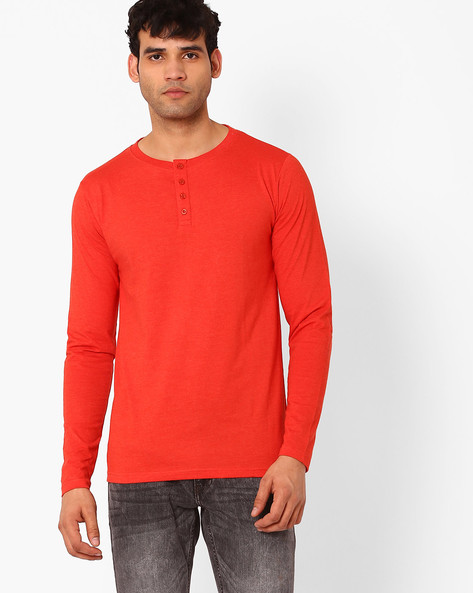 Slim Fit Henley T-shirt By Blue Saint ( Red )