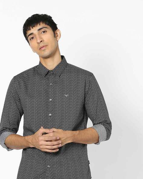 Slim Fit Textured Cotton Shirt By FLYING MACHINE ( Black )