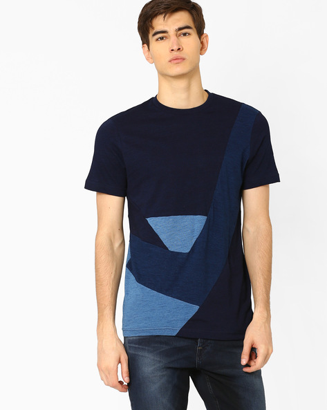 Cut-and-Sew Colourblock T-shirt By Celio ( Indigo )