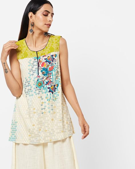 Printed Sleeveless Kurti By AURELIA ( Green )