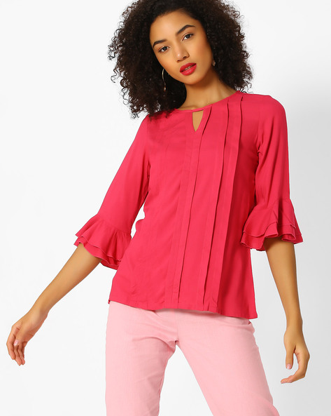 Top With Ruffled Bell Sleeves By And ( Pink )