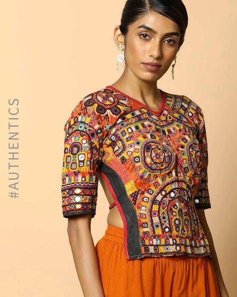 Kutch Embroidered Backless Blouse By Indie Picks ( Multi ) - 460103681001