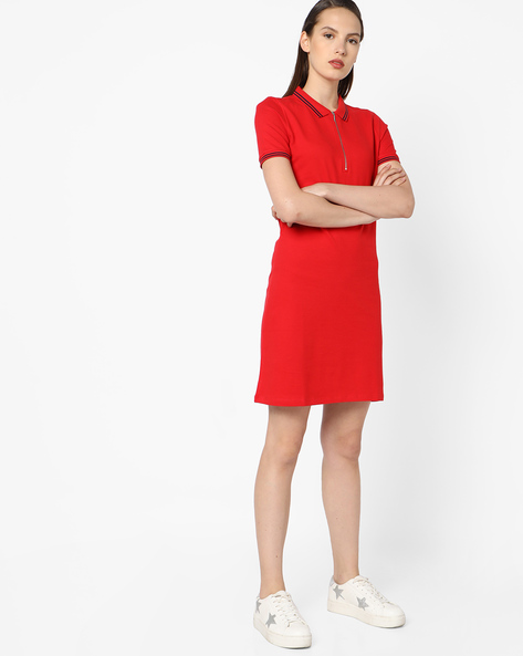 Shirt Dress With Stripe-Tipped Hems By UNITED COLORS OF BENETTON ( Red )