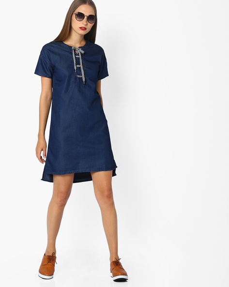 High-Low Denim Dress With Lace-Up Fastening By AJIO ( Blue )