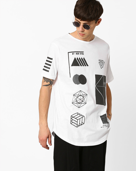 Printed Slim Fit Longline T-shirt By ADAMO LONDON ( White )