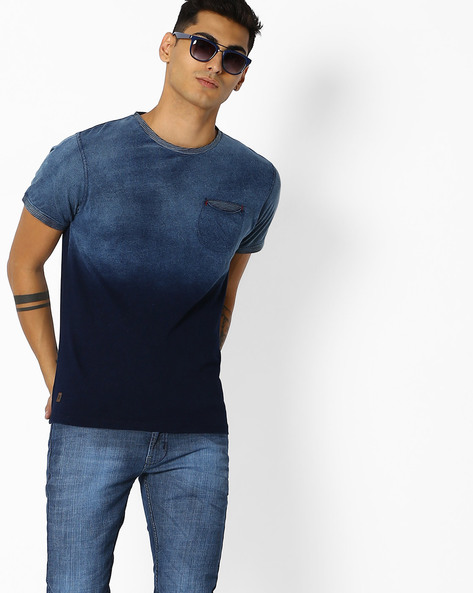 Crew-Neck T-shirt With Dyed Effect By DNMX ( Blue )