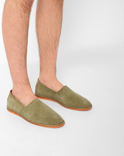 Genuine Leather Slip-Ons By AJIO ( Olive )