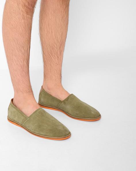Genuine Leather Slip-Ons By AJIO ( Olive )