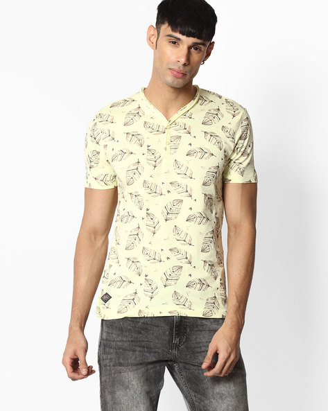 Leaf Print Henley T-shirt By TEAM SPIRIT ( Yellow )