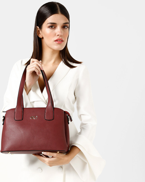 Textured Shoulder Bag With Zip Closure By E2O ( Maroon )