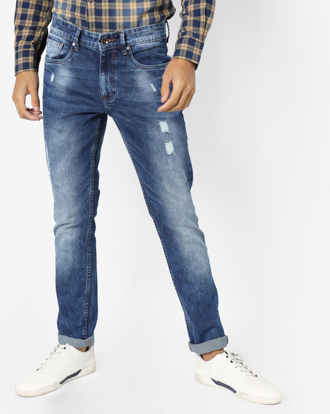 Slim Fit Jeans With Distress By AJIO ( Blue )