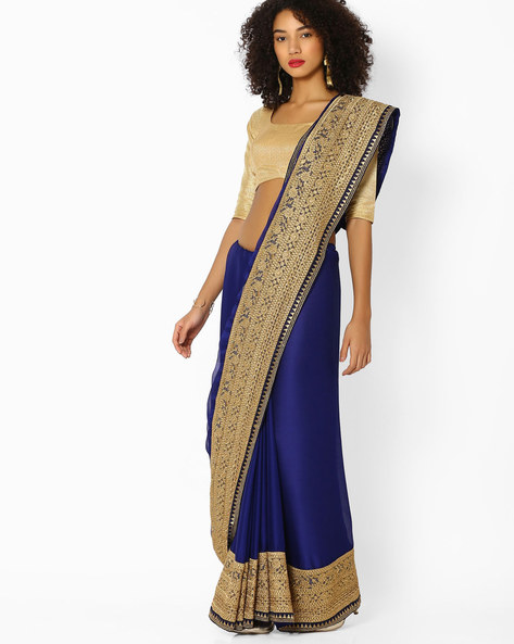 Chiffon Saree With Embroidered Border By Vastrangi ( Navyblue )