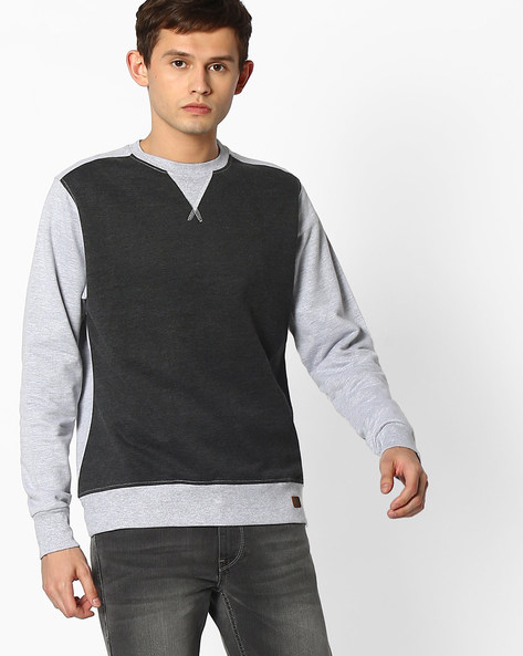 Slim Fit Sweatshirt With Ribbed Hems By Blue Saint ( Multicolour )