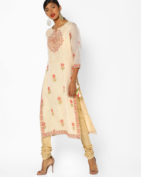 Printed Kurta With Tassel Tie-Up By Melange By Lifestyle ( Beige )