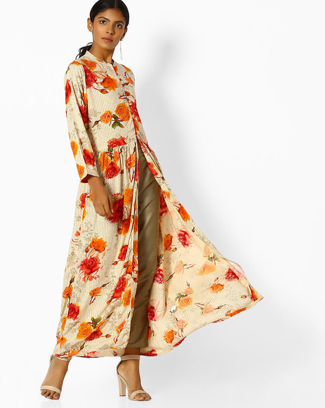 Floral Print Kurta With Front Slit By Shree ( Orange )