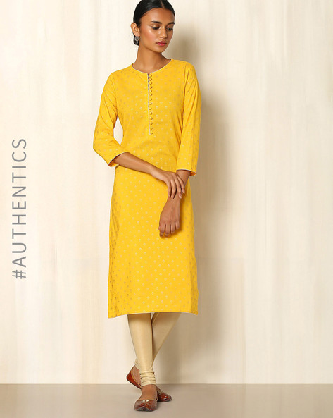 Gold Khari Handblock Print Cotton Kurta By Indie Picks ( Yellow )