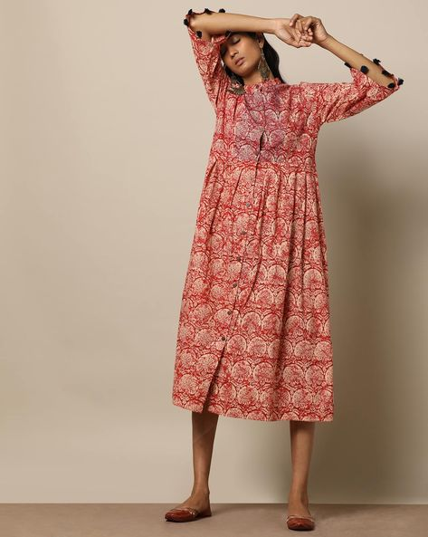 Printed Cotton Pleated Long Dress With Pintucks By Seasons ( Red ) - 460170026001