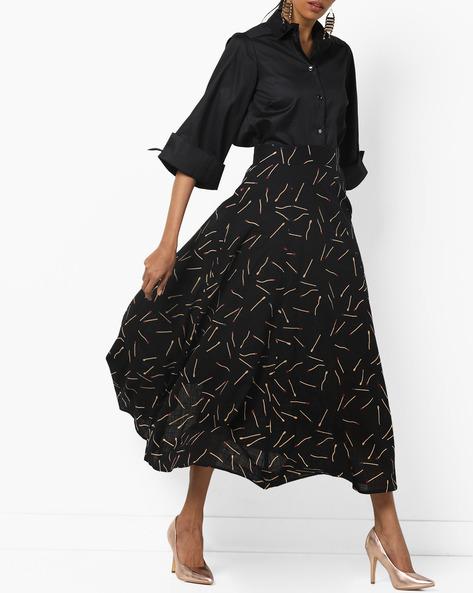 Matchstick Print Flared Midi Skirt By Breya ( Black )
