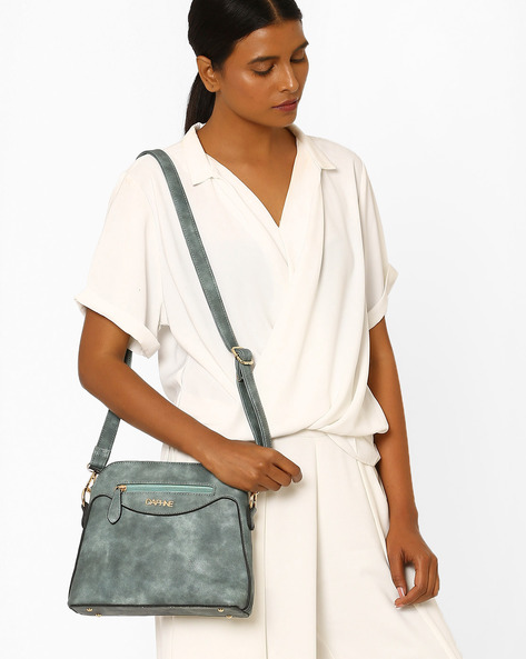 Panelled Sling Bag By Daphne ( Grey )