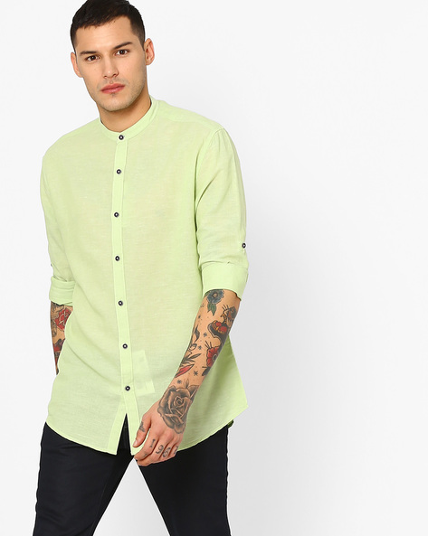 Cotton Shirt With Band Collar By British Club ( Green )