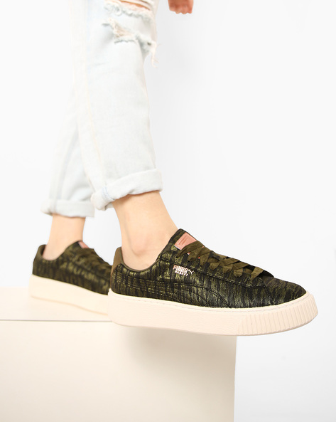 Casual Shoes With Lace-Ups By Puma ( Olive )