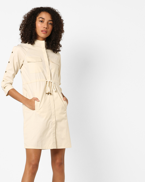 Twill Utility Dress With Buttoned Sleeves By AJIO ( Offwhite )