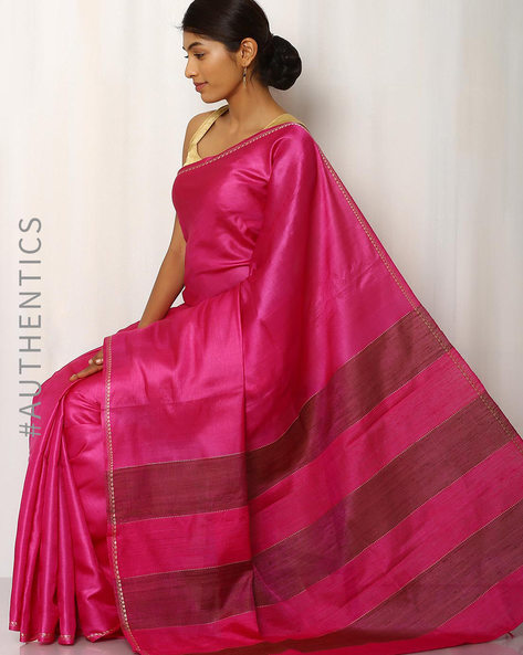 Handwoven Pure Tussar Ghicha Silk Saree By Indie Picks ( Magenta )